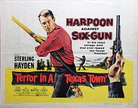 Terror in a Texas Town, 1958, Sterling Hayden, Original Half Sheet, (22x28)