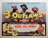 3 Outlaws, 1956, Neville Brand, Original Half Sheet, (22x28)