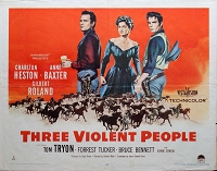 Three Violent People, 1956, Charlton Heston, Original Half Sheet, Style A (22x28)