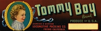 Tommy Boy Brand, Original Crate Label, Circa 1940's, 13.00 x 4.00