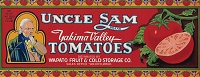 Uncle Sam Brand, Original Tomato Crate Label, Circa 1920's, 12.75 x 5.00