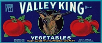 Valley KIng Brand, Original Crate Label, Circa 1950's, 13.00 x 5.00