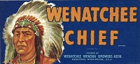 Wenatchee Chief Brand, Original Crate Label, Circa 1950's, 10.00 x  4.75