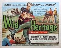 Wild Heritage, 1958, Will Rogers Jr., Original Half Sheet (22x28)