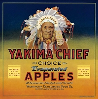 Yakima Chief Brand, Original Apple Crate Label, Circa 1930's, 10.00 x  10.00