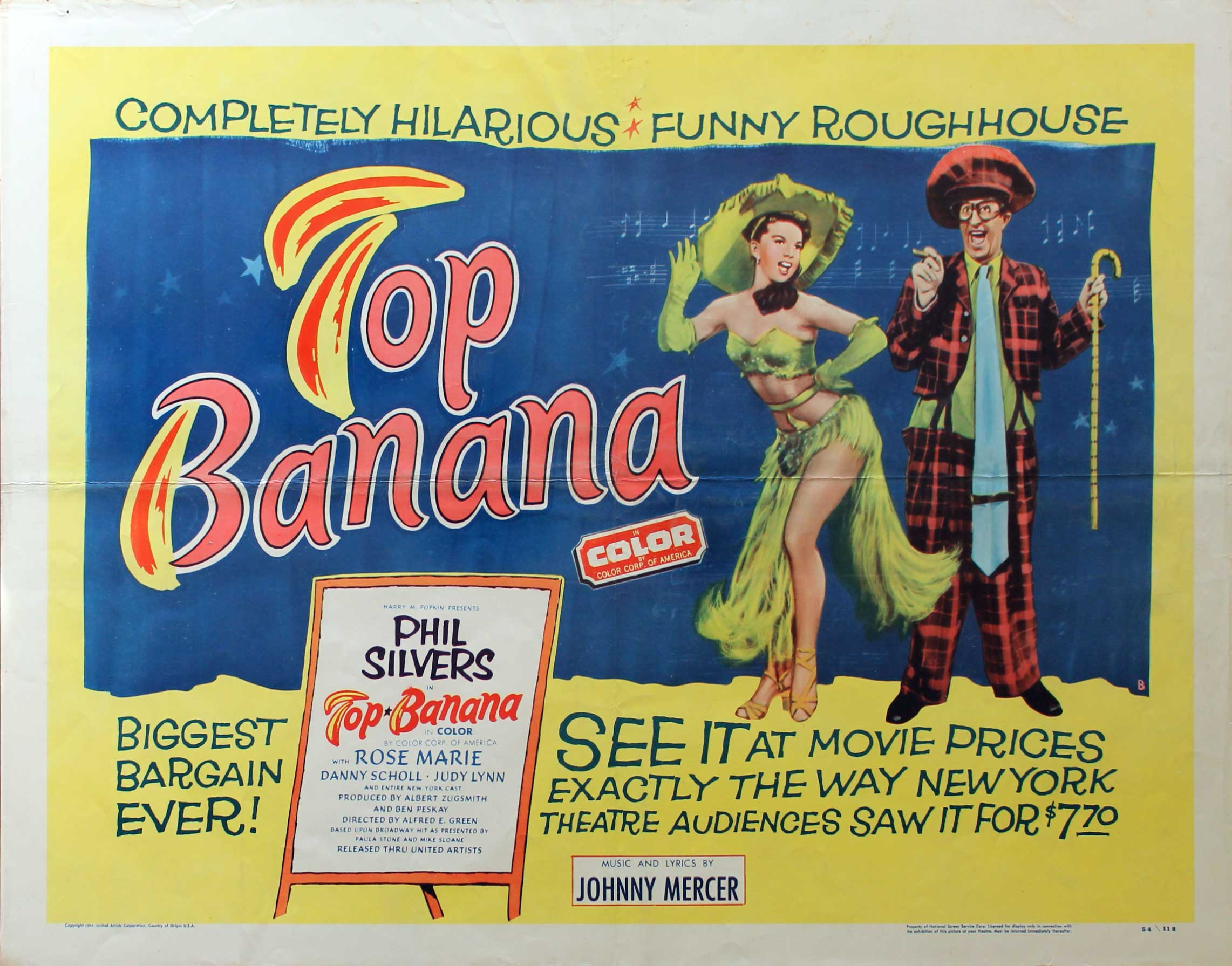 Top Banana, 1954, Phil Silvers, Original Half Sheet, (22x28)