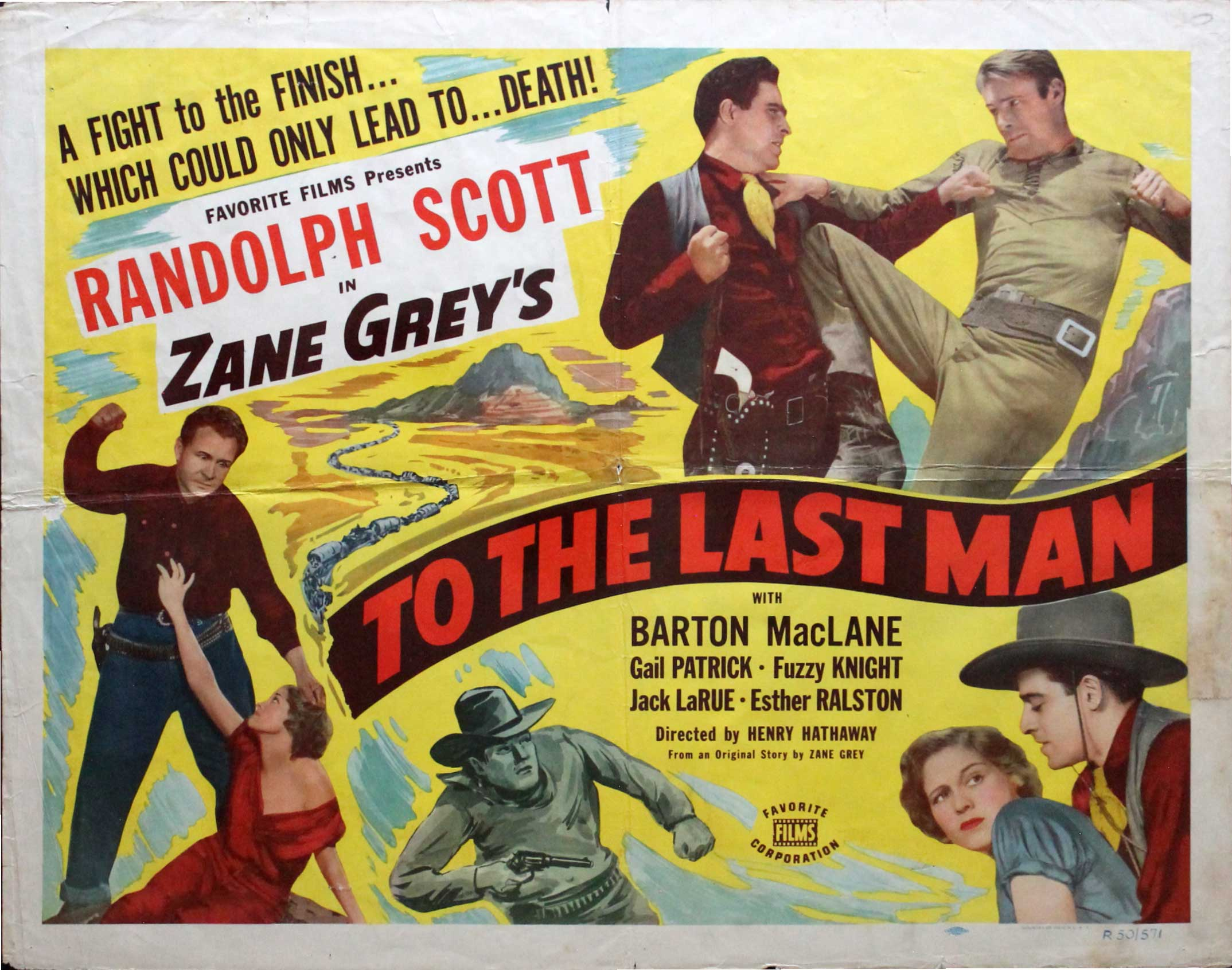 To the Last Man, R50, Randolph Scott, Re-Release Half Sheet, (22x28)
