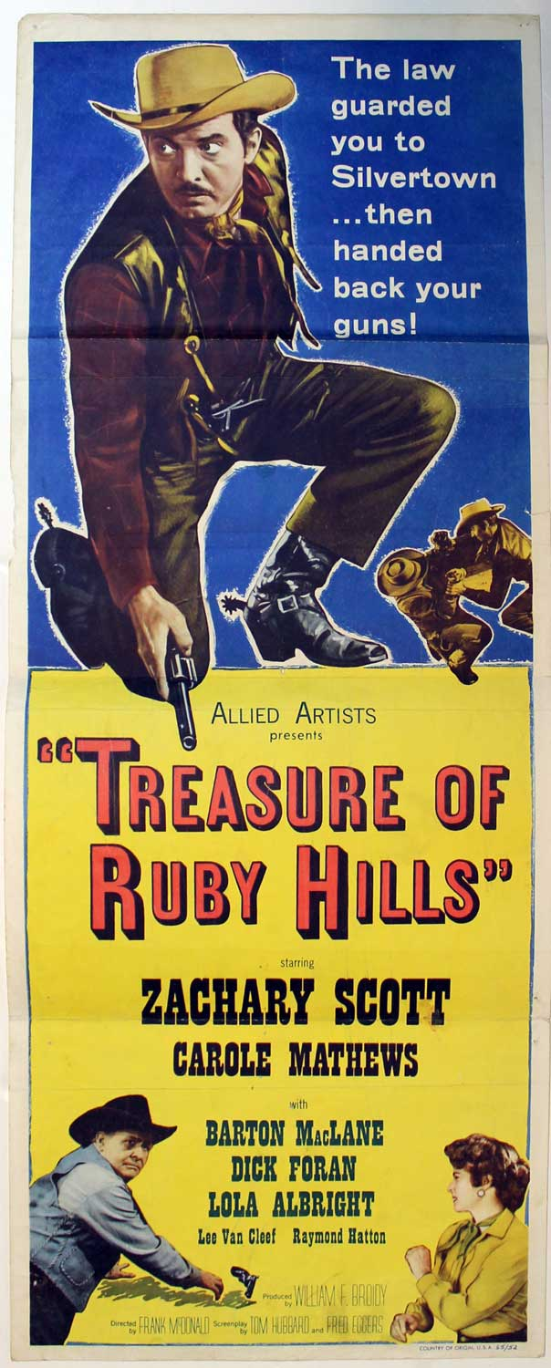 Treasure of Ruby Hills, 1955, Original Insert, (14x36