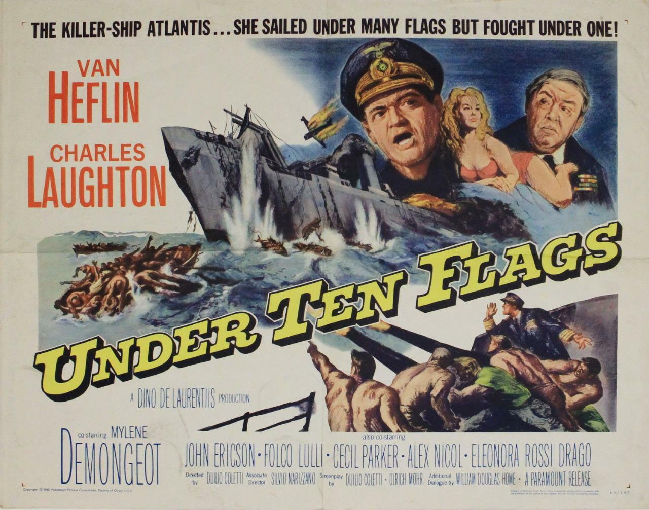 Under Ten Flags, 1960, Van Heflin, Original Half Sheet (22x28