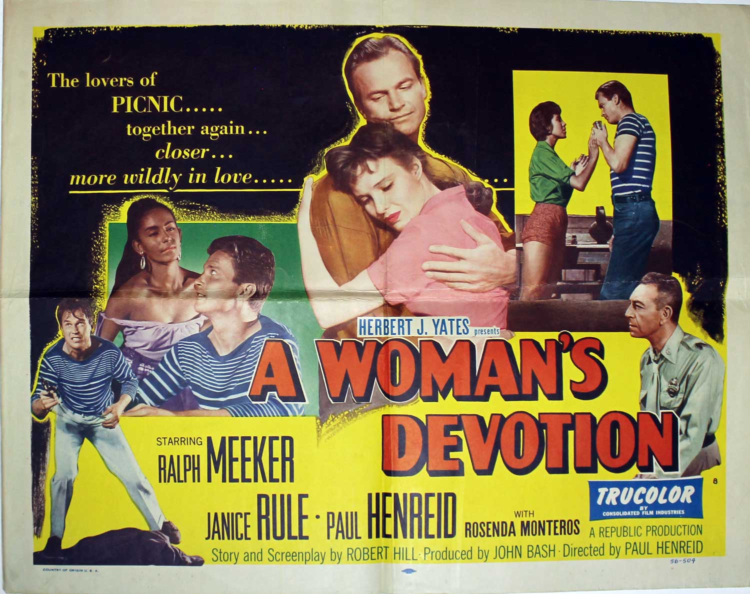 Woman's Devotion, 1956, Janice Rule, Original Half Sheet (22x28)