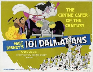 101 Dalmations, R79, Disney, Re-Release Title Card, 11x14