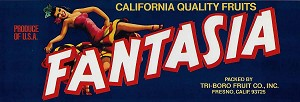 Fantasia Brand, Original Crate Label, Circa 1960's, 11.75x4