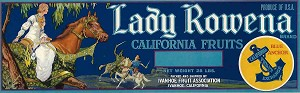 Lady Rowena Brand, Original Crate Label, Circa 1940's, 13x4