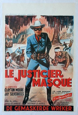 Lone Ranger and the Lost City of Gold, 1958, Clayton Moore, Original Belgian Poster on Linen, 14x22