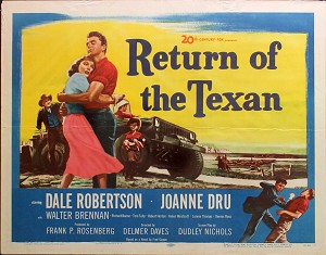 Return of the Texan, 1952, Dale Robertson, Original Half Sheet, (22x28)