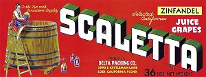 Scaletta Brand, Original Grape Crate Label, Circa 1970's, 13.00 x 4.75