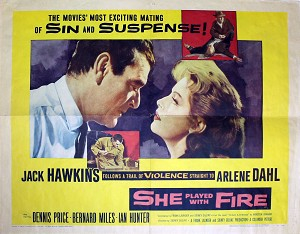 She Played with Fire, 1958, Arlene Dahl, Original Half Sheet (22x28)