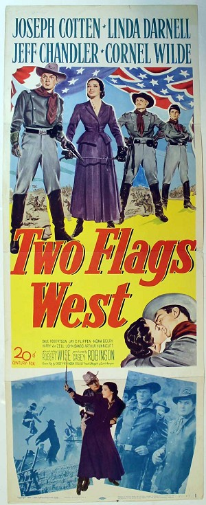 Two Flags West, 1950, Original Insert, (14x36