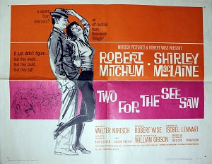 Two for the See-Saw, 1962, Robert Mitchum, Original Half Sheet (22x28)
