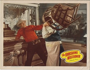 Monte Hale, Autographed The Vanishing Westerner, 1950, Original Lobby Card 11x14