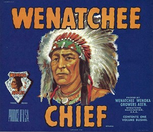 Wenatchee Chief Brand, Original Crate Label, Circa 1950's, 10.00 x  8.25
