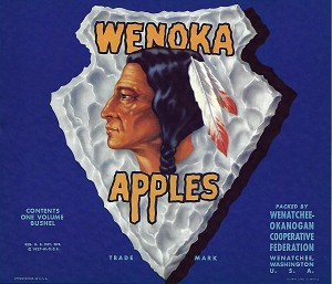 Wenoka Brand, Original Apple Crate Label, Circa 1940's, 10.00 x  8.75